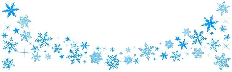 Bannière Noël bleu avec étoiles sur fond blanc