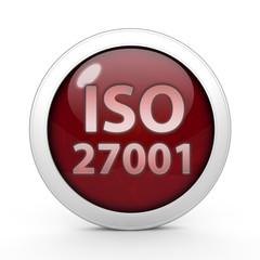 Iso 27001 circular icon on white background