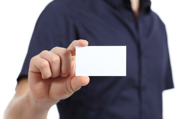 Close up of a man hand holding a blank card