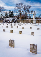 Snow covered cemetary at the National Shrine of Saint Elizabeth
