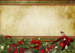 Vintage Christmas background with holly and firtree