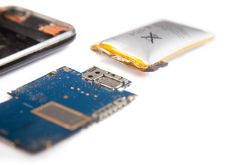 Smartphone unassembled closeup isolated on a white background