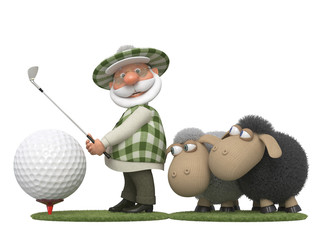 The 3D golfer with lambs