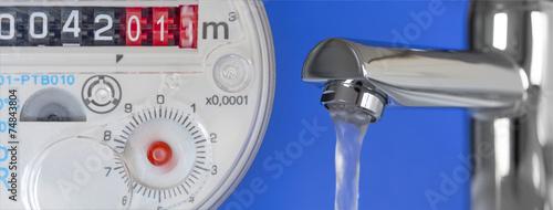 Leinwanddruck Bild Wasseruhr & Wasserhahn