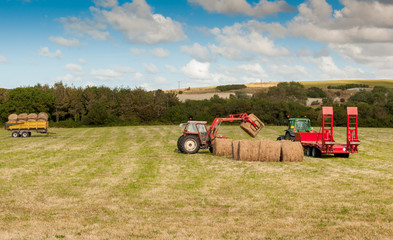 Tractor at Straw harvesting