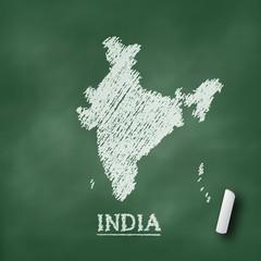 India map chalkboard green vector