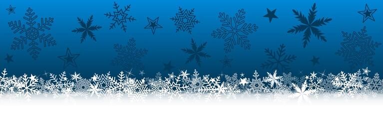 Bannière bleue Noël avec flocons de neige