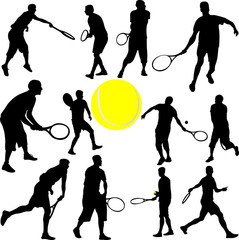 tennis players collection - vector