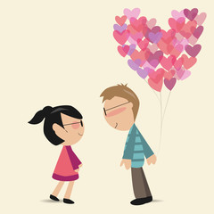 lovers with the heart air balloon falling in love
