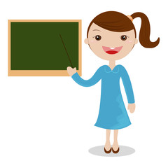 Cartoon female teacher standing next to a blackboard .