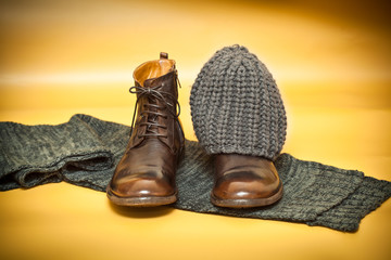 Fashion leather shoes, knitted scarf and cap