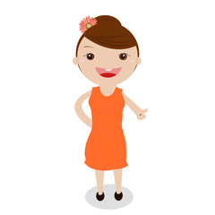 a cute little girl on white background.