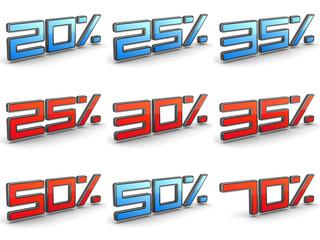 Discount Concepts  - Set of 3D Illustrations.