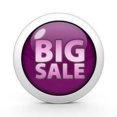 Big sale circular icon on white background