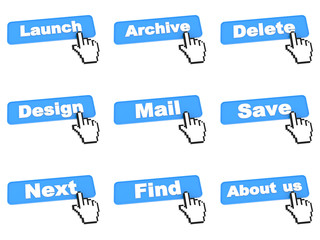 Blue Web Buttons with Hand Cursor.
