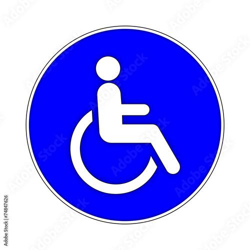 canvas print picture Rollstuhlfahrer Gebotszeichen