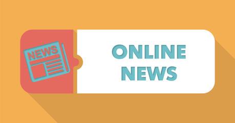 Online News on Blue Background in Flat Design.
