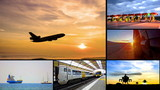 transportation montage business trading video wall background