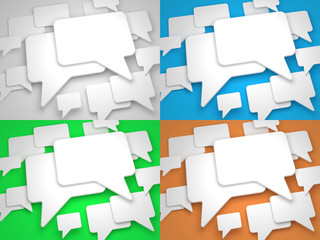 Blank Speech Bubble on Colorful Background.