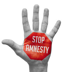 Stop Amnesty Concept on Open Hand.