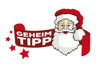 Weihnachtsmann Vektor Label Geheim-Tipp1