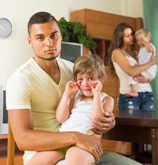 Family with kids having quarrel