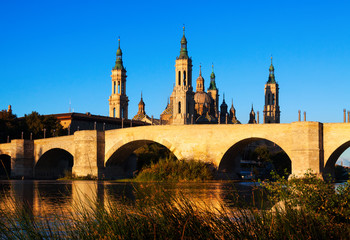 antique  bridge and  Cathedral in  Zaragoza
