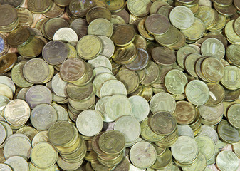 many russian coins on the floor