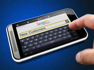 New Customers in Search String on Smartphone.