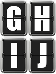 Letters G, H, I, J on Mechanical Scoreboard.