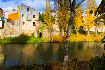 Autumn landscape with river Tajo