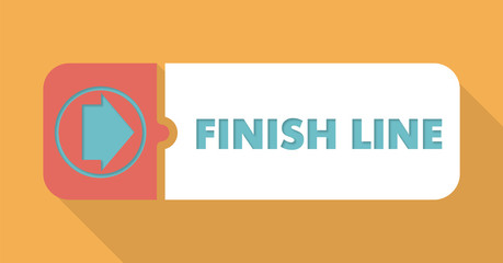 Finish Line on Blue Background in Flat Design.
