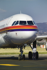 Italy, Sardinia, Olbia Airport, airplane on the runway