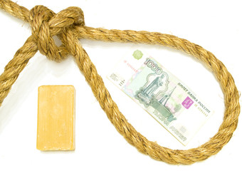rope with a noose and soap (a set of gallows)