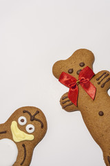 Gingerbread Pinguin And Bear Isolated on white.