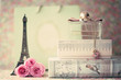 Eiffel tower with roses and perfume bottle - 74850636