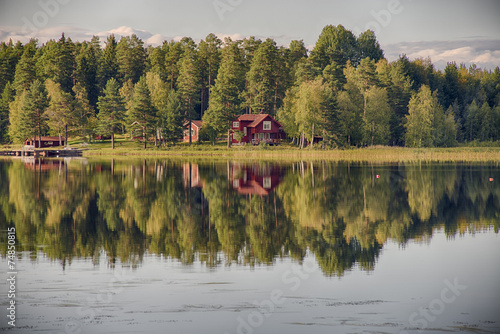 Aluminium Scandinavië Summer in Sweden - traditional red Cottage at a lake