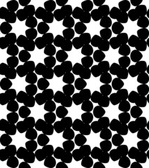Black and white geometric seamless pattern with star.