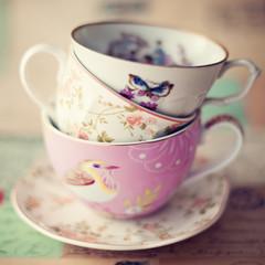 Pile of vintage tea cups