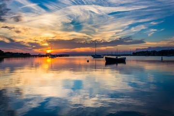 Sunset over the Folly River, in Folly Beach, South Carolina.