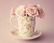 Vintage Bouquet of roses in a coffee cup - 74851259