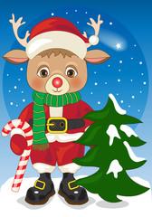Reindeer as Santa Claus