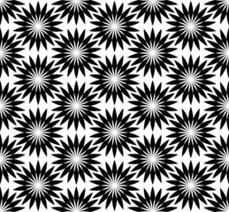 Black and white seamless pattern with flower style.