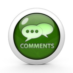 Comments now circular icon on white background
