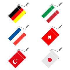 roller for painting with flags vector