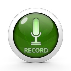 Microphone circular icon on white background