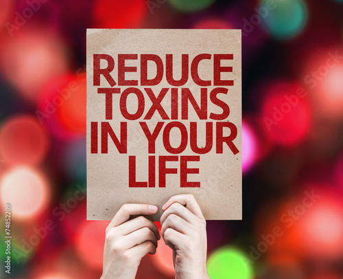 canvas print picture Reduce Toxins In Your Life card with colorful background