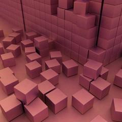 Damaged assembling of blocks. 3d render image