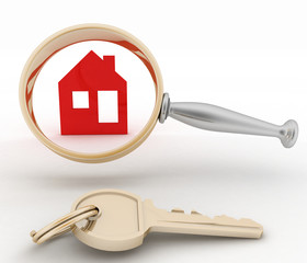Magnifying glass inspects a home and key