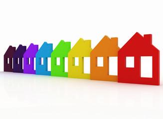 3d multicolored model house symbol set